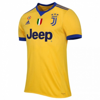 17-18 Juventus Away Yellow Soccer Jersey Shirt