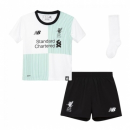 17-18 Liverpool Away White Children's Jersey Whole Kit(Shirt+Short+Socks)
