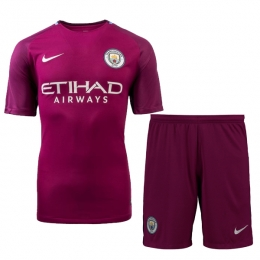 17-18 Manchester City Away Purple Jersey Kit(Shirt+Short)