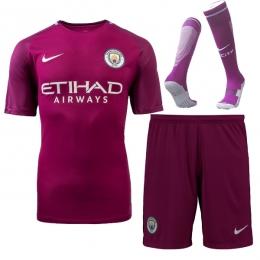17-18 Manchester City Away Purple Jersey Whole Kit(Shirt+Short+Socks)
