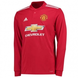 17-18 Manchester United Home Long Sleeve Jersey Shirt