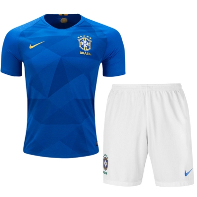 new product 8beef 0e70a 2018 World Cup Brazil Away Blue&White Jersey Kit(Shirt+Short)