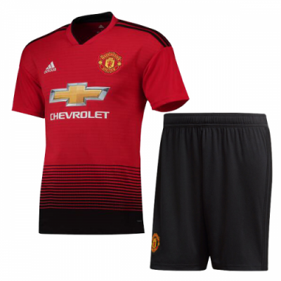 san francisco 2a08e 2c551 18-19 Manchester United Home Jersey Kit(Shirt+Short)