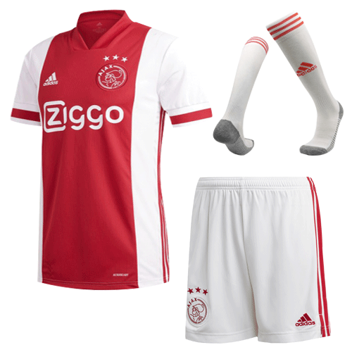 20/21 Ajax Home Red&White Soccer Jerseys Whole Kit(Shirt+Short+Socks)