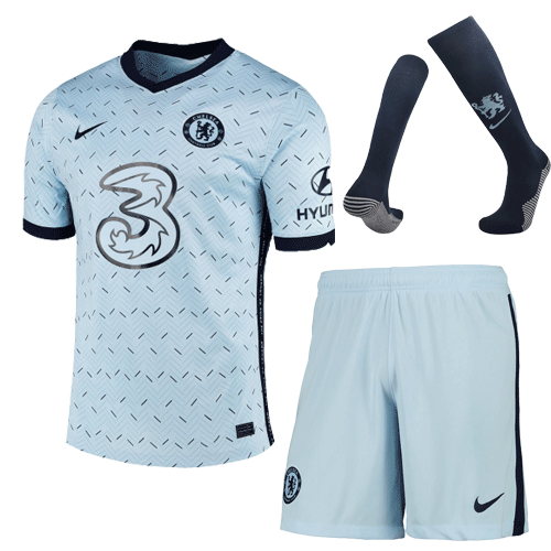 20/21 Chelsea Away Light Blue Soccer Jerseys Whole Kit(Shirt+Short+Socks)