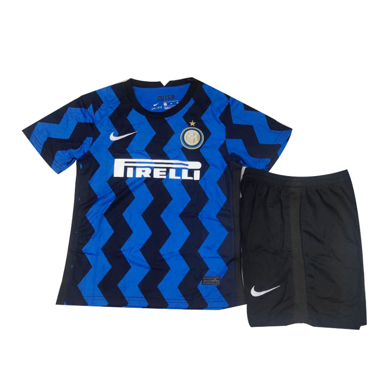 20/21 Inter Milan Home Blue&Black Children's Jerseys Kit(Shirt+Short)
