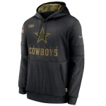 Men's Dallas Cowboys Black 2020 Salute to Service Sideline Performance Pullover Hoodie