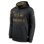 Men's Seattle Seahawks Black 2020 Salute to Service Sideline Performance Pullover Hoodie