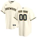 Men's Milwaukee Brewers Nike Cream Home 2020 Replica Custom Jersey