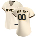Women's Milwaukee Brewers Nike Cream 2020 Home Replica Custom Jersey