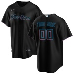 Men's Miami Marlins Nike Black Alternate 2020 Replica Custom Jersey