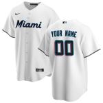 Men's Miami Marlins Nike White Home 2020 Replica Custom Jersey