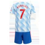 Manchester United RONALDO #7 Away Jersey Kit 2021/22 Kids(Jersey+Shorts)
