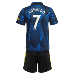 Manchester United Adidas RONALDO #7 Third Away Jersey Kit 2021/22 Kids(Jersey+Shorts)