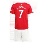Manchester United RONALDO #7 Home Jersey Kit 2021/22 Kids(Jersey+Shorts)